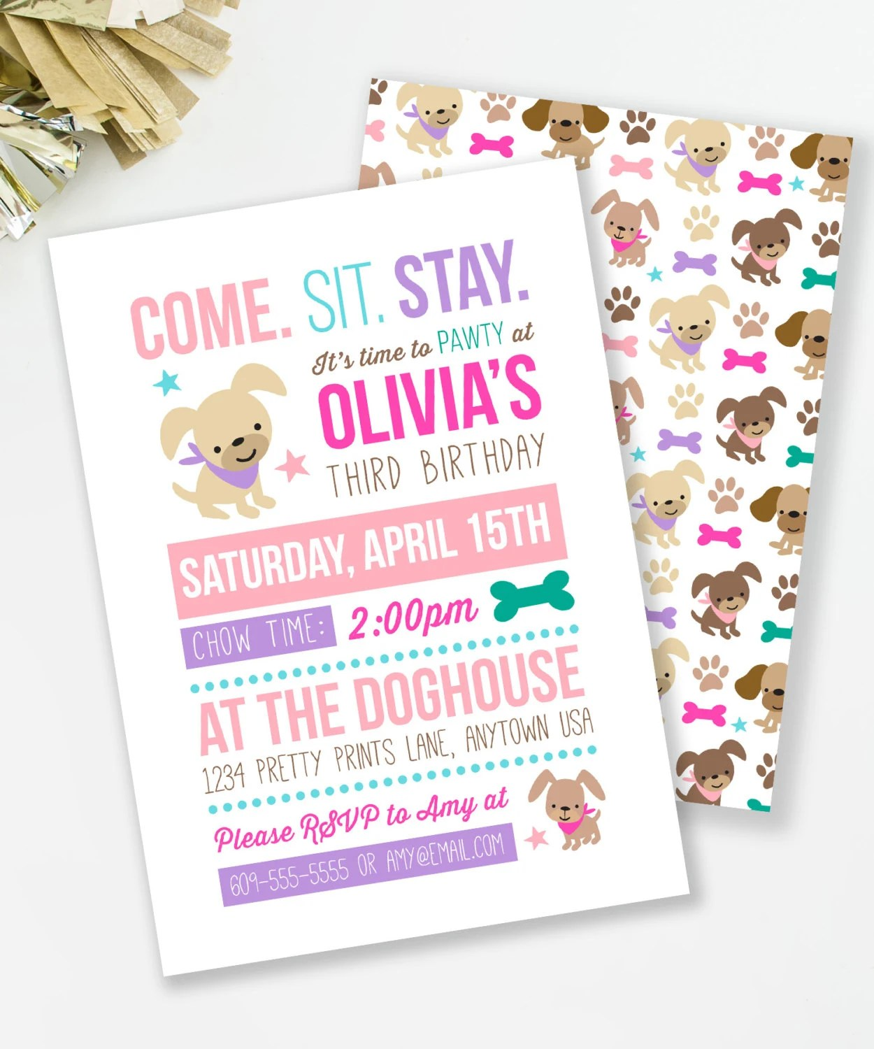 puppy birthday invitation puppy