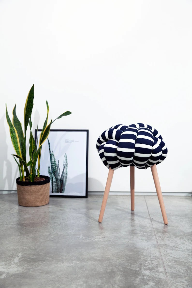 Blue And White Striped Chair Dark Blue And White Stripes Knot Stool Design Chair Modern Chair Industrial Stool Wood Stool