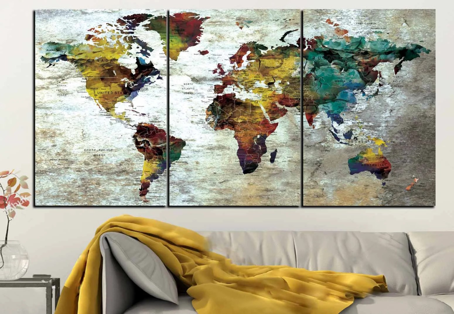 Detailed push pin map large canvas panel world map wall art large detailed push pin map large canvas panel world map wall art large gumiabroncs Gallery