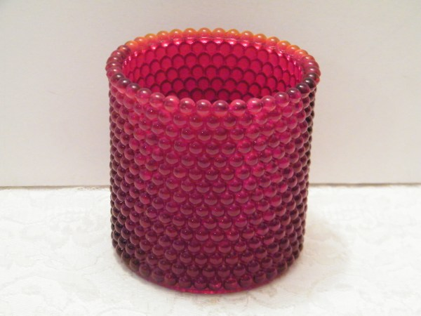 Red Glass Hurricane Candle Holder Beaded Design With Orang