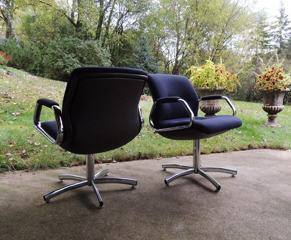 vintage steelcase chair little tikes desk and with light etsy postmodern set of 2 swivel chrome navy blue arm chairs 1987