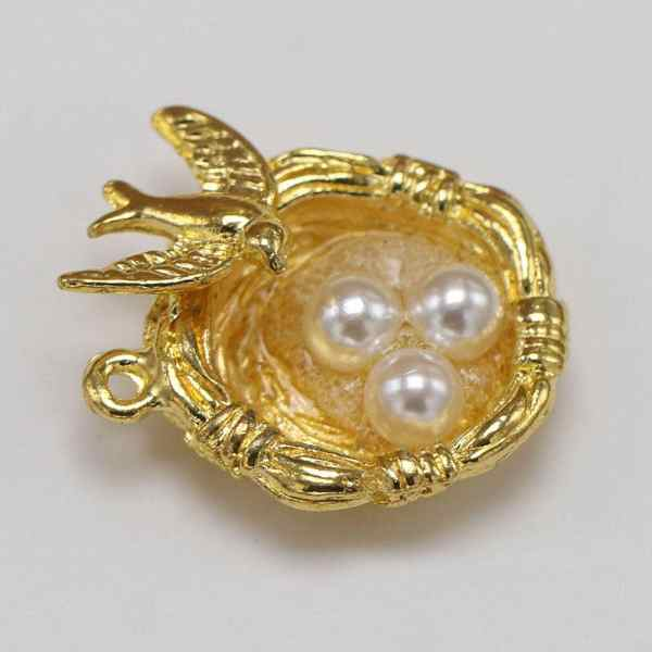 5pcs Bird Nest Charm Cute Gold Plated Charms