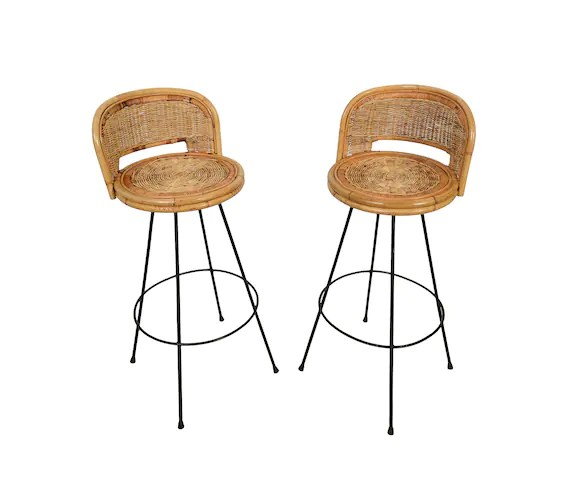 stool chair hong kong pink comfy wicker bar stools danny ho fong tropi cal style pair of etsy image 0