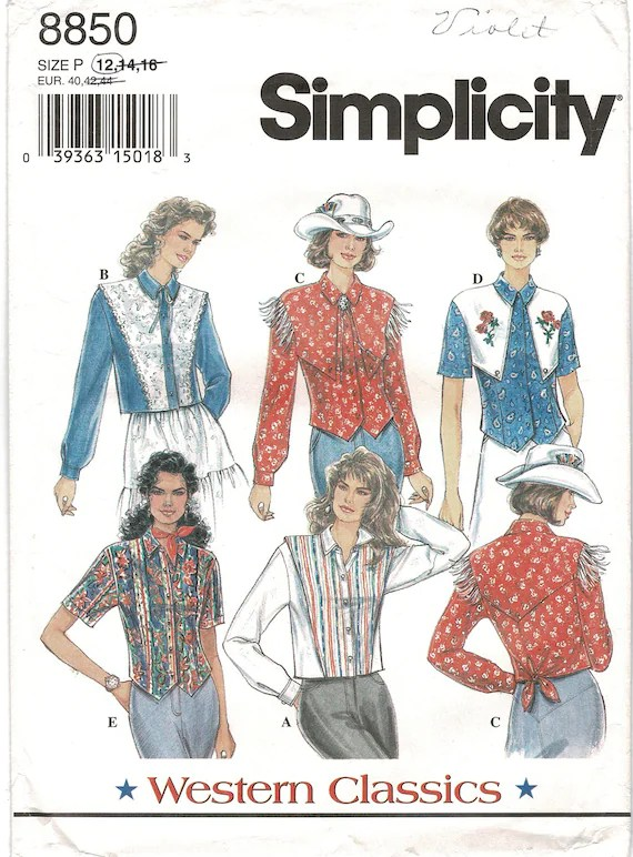 Western Shirt Patterns For Women's : western, shirt, patterns, women's, Simplicity, Western, Shirt, Cowgirl, Blouse, Women, Sewing