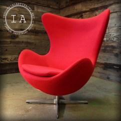 Mid Century Egg Chair Pedicure Massage Modern Arne Jacobsen Design Red Etsy Image 0