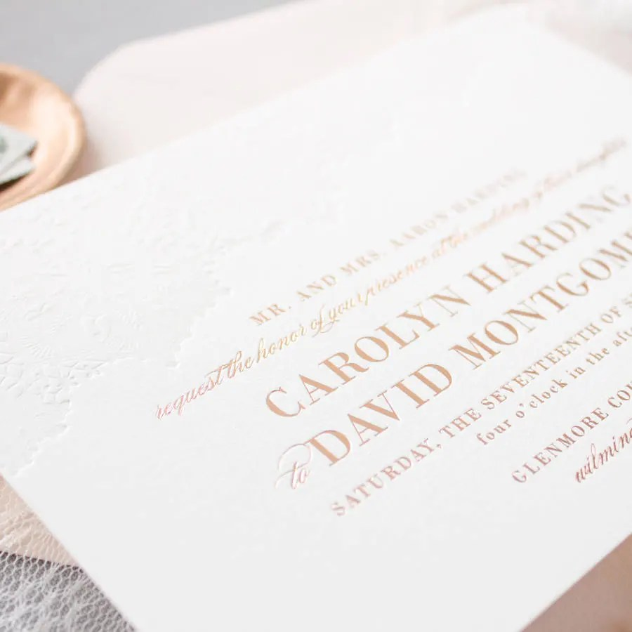 rose gold foil invitations