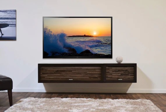 meuble tv moderne mural flottant entertainment center console eco geo 2 pieces expresso