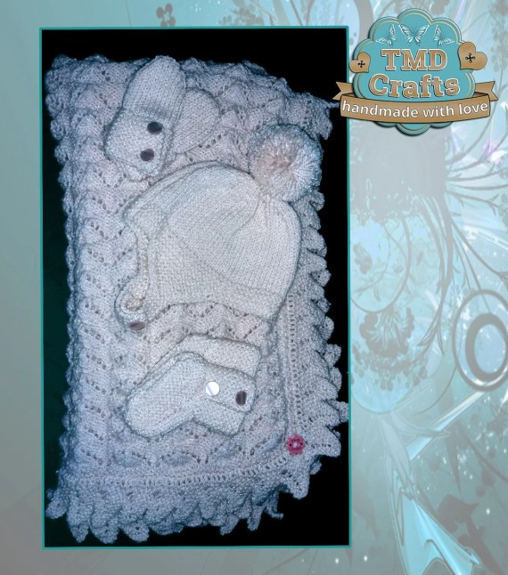 Hand Knitted Baby Shawl Set