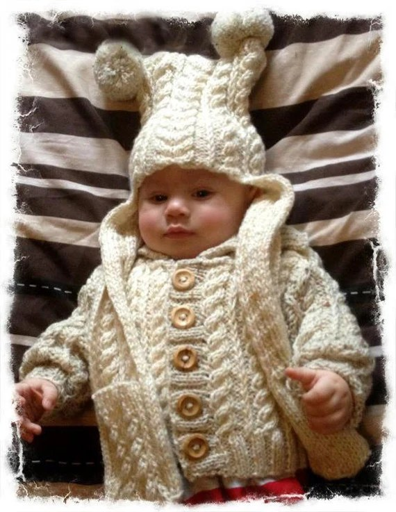 Aran Jacket with matching Hat/scarf