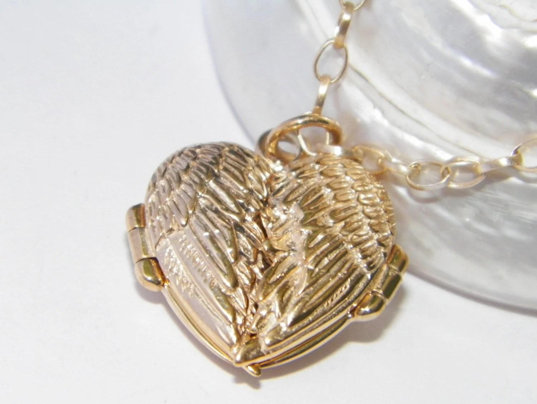 angel wings heart locket