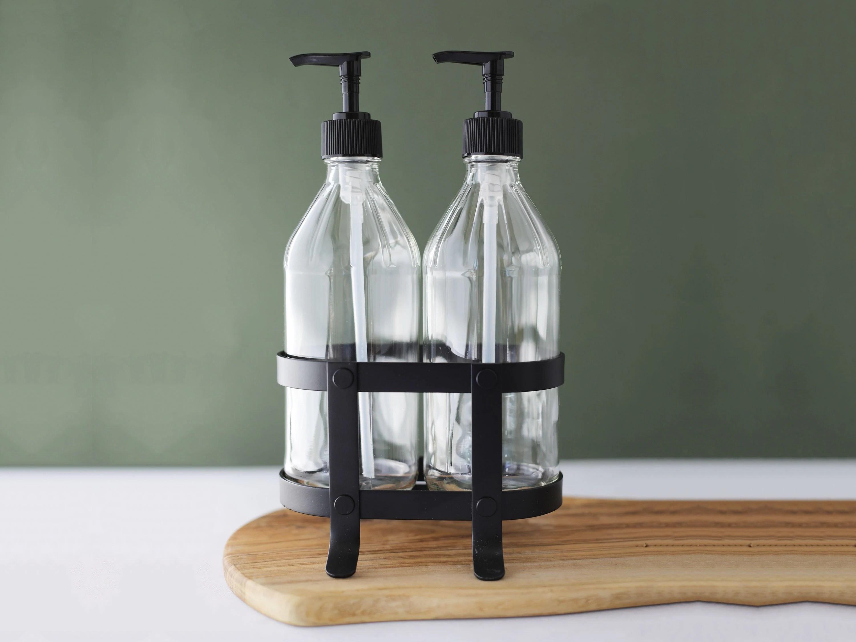 kitchen dish soap dispenser home depot cabinet refacing vintage hand set with black etsy 50