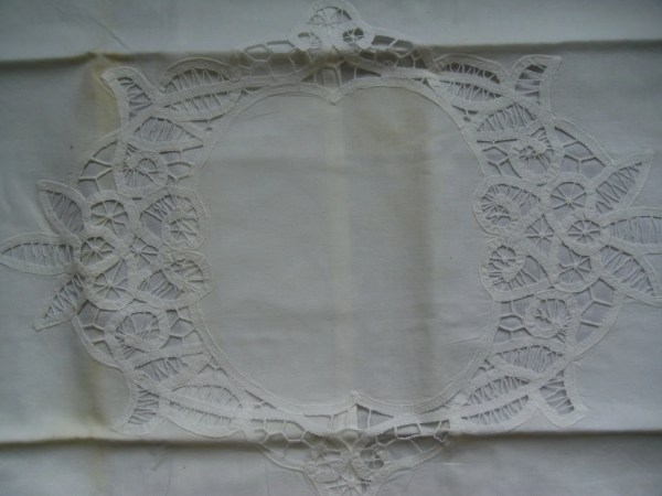 Large Battenburg Lace Pillow Sham Nos With Tag Used