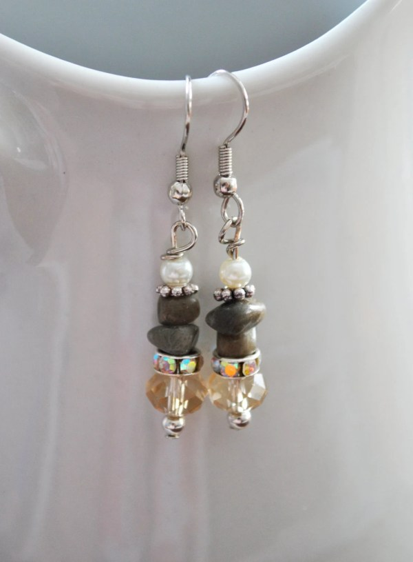 Petoskey Stone Nugget Earrings With Crystals Rhinestones