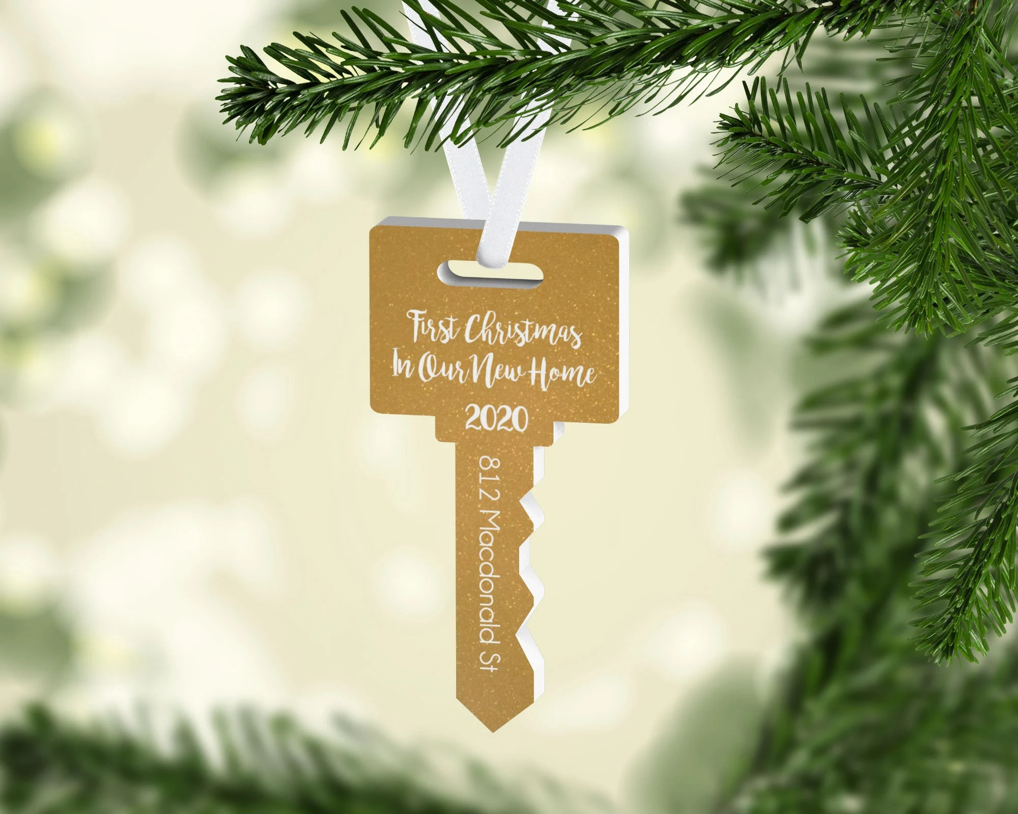 New Home Christmas Ornament Personalized Ornament Key Shape image 1