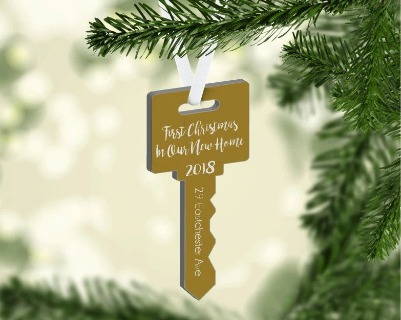 New Home Christmas Ornament Personalized Ornament Key Shape image 2