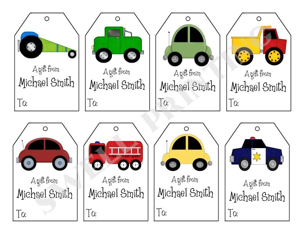 Printable Personalized Cars T Tags Cars Trucks And