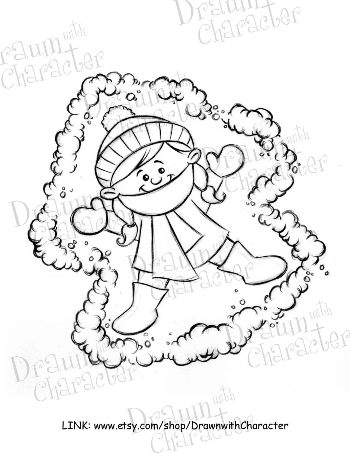 Kid Snow Angel Digital Clip Art/ KopyKake Image W36-SN