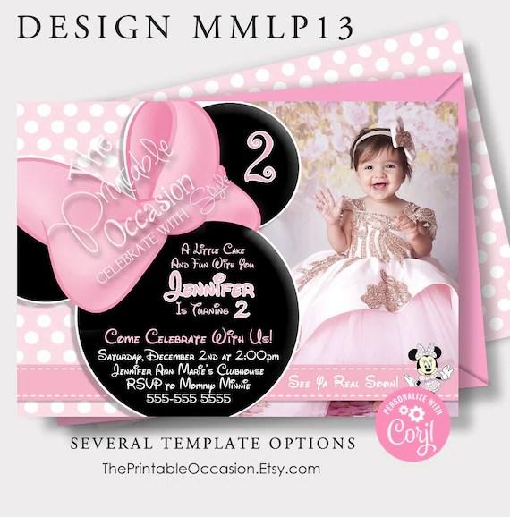 editable pink minnie mouse invitation