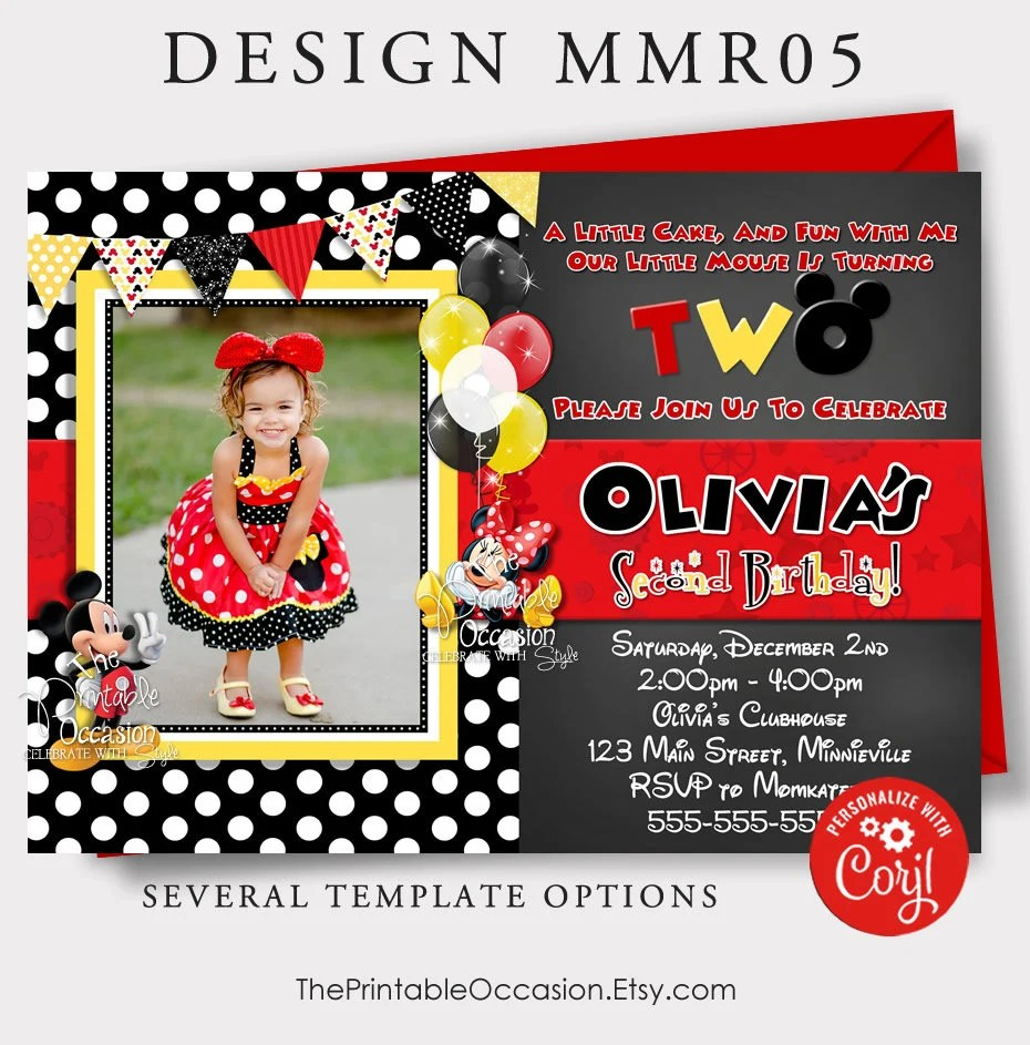 editable red minnie mouse invitation