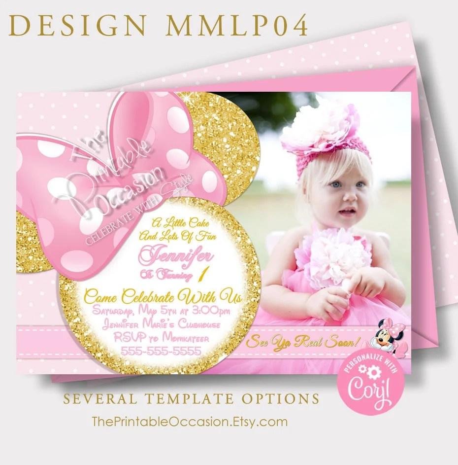 editable first birthday minnie mouse