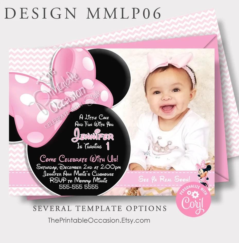 editable minnie mouse invitation baby