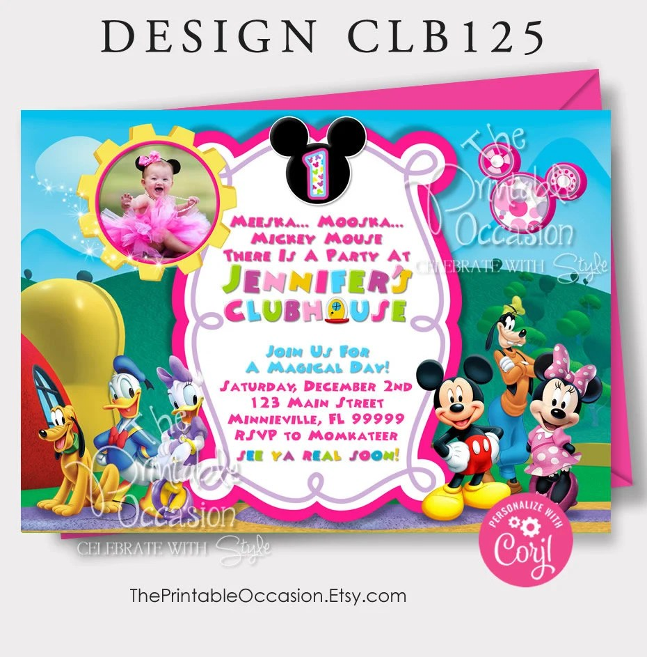 editable mickey minnie mouse clubhouse invitation template clubhouse photo invitation clubhouse birthday invitation instant download