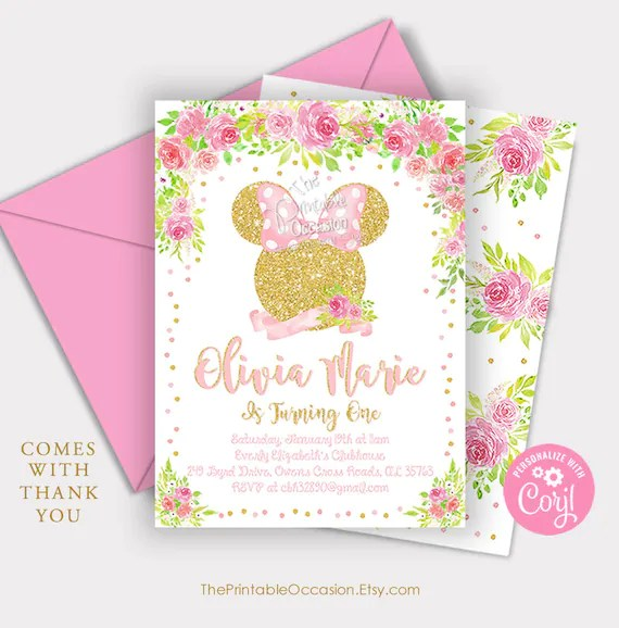 editable pink gold minnie mouse