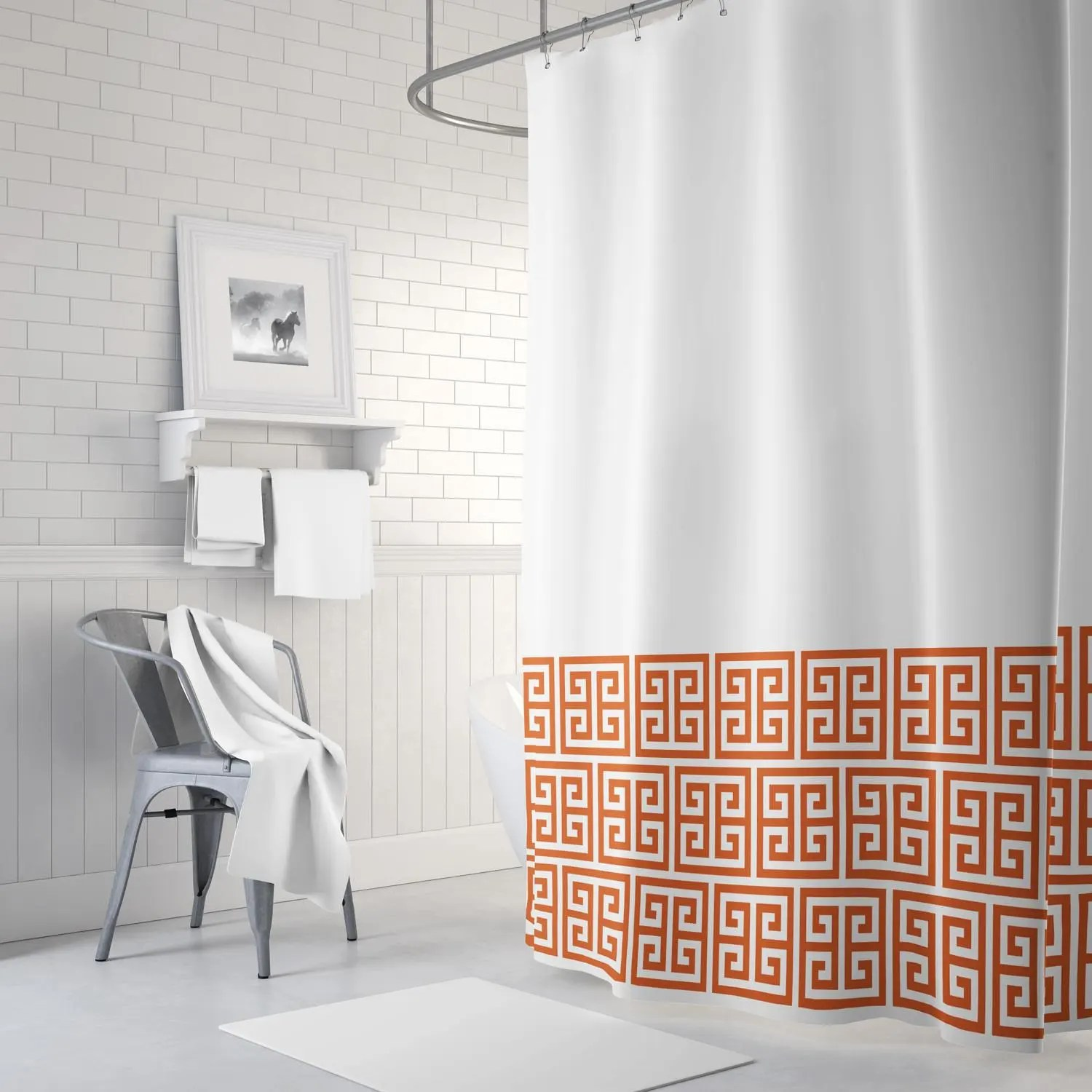 greek key shower curtain burnt orange and white or any colors standard extra long sizes custom home decor preppy bathroom