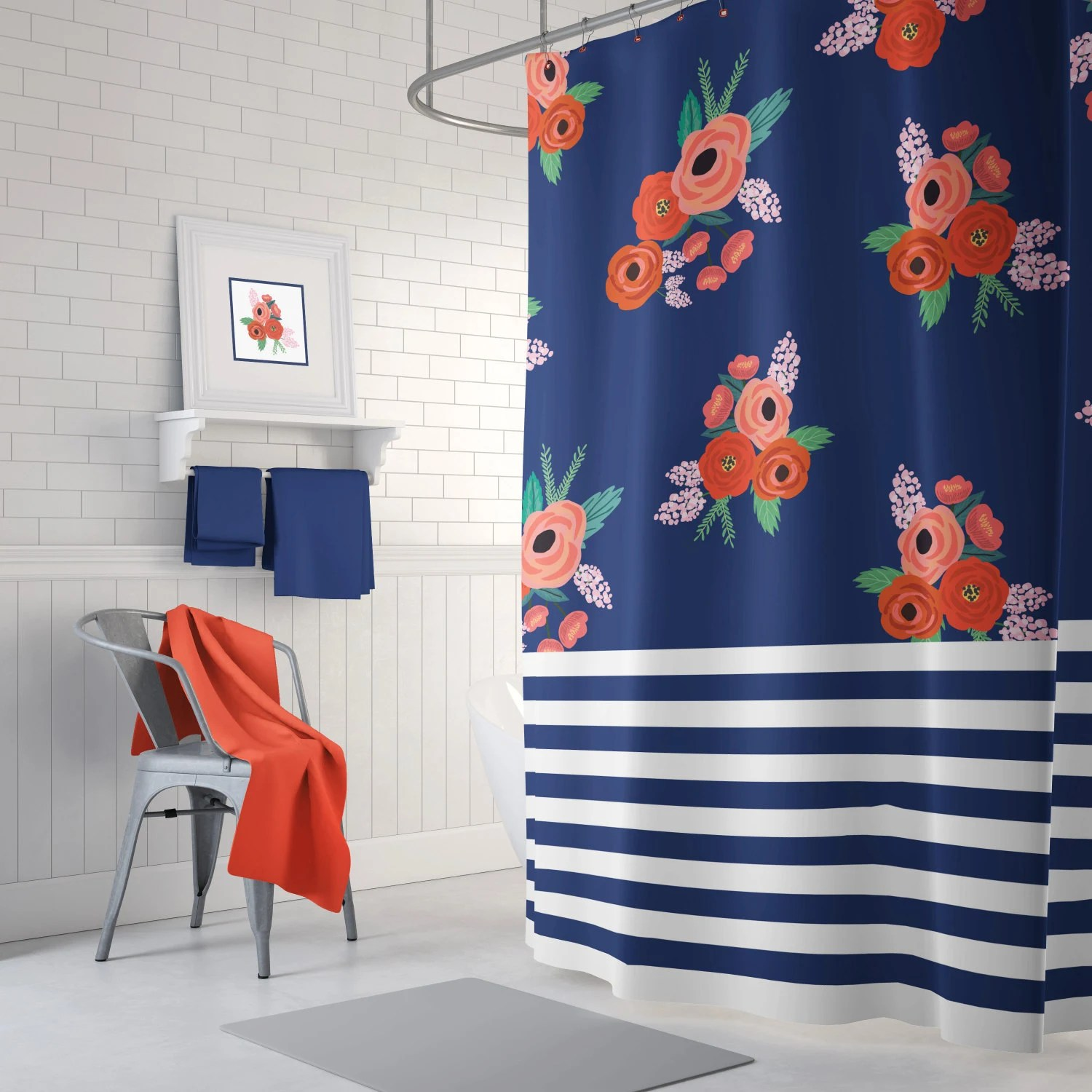 stripes and floral shower curtain navy blue coral red green white light pink flowers leaves home decor teen girl bathroom