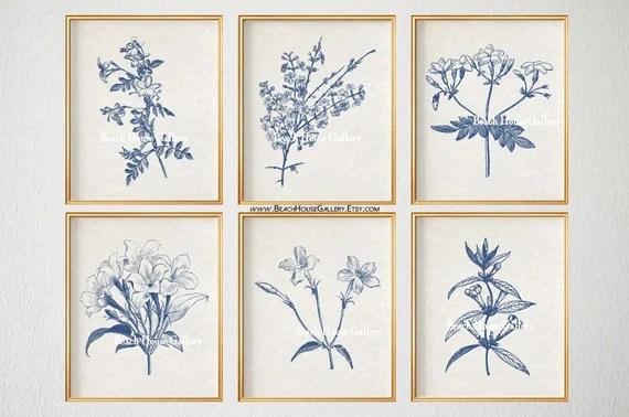 Blue Botanical Prints Blue Wall Art Vintage Botanical Etsy