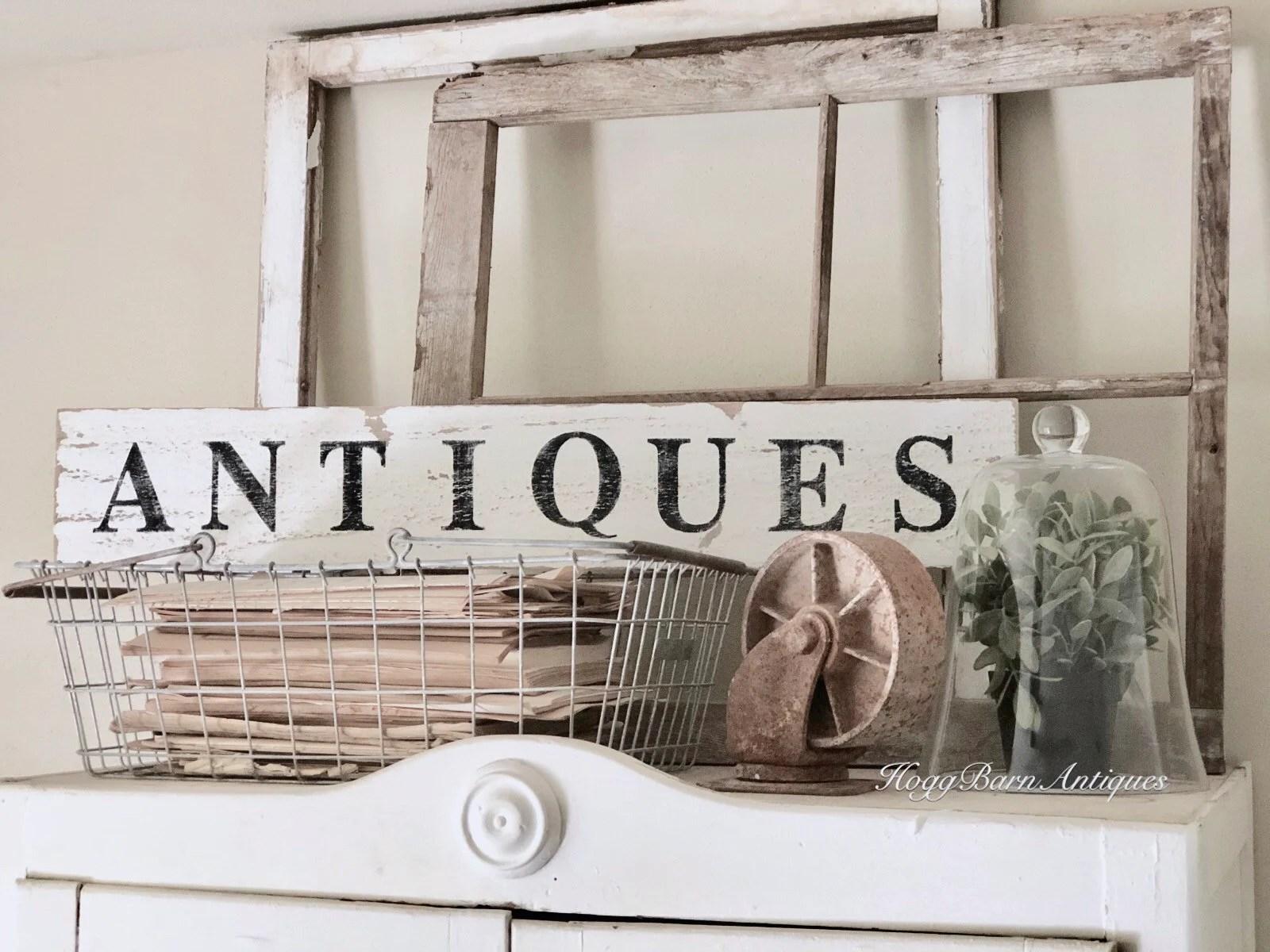 ANTIQUES Sign Farmhouse Wood Salvage Barn Wood Primitive