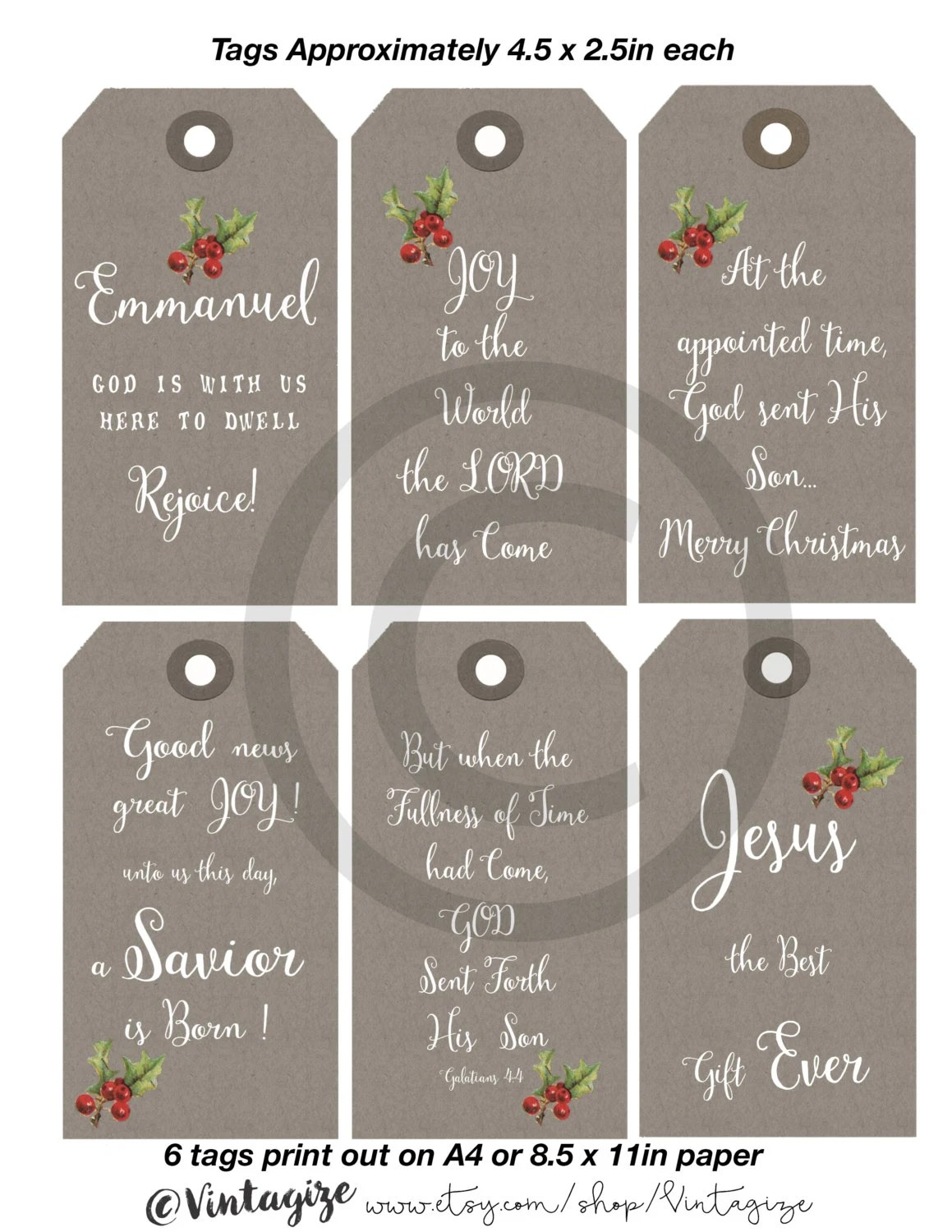 Printable Christmas Christian Religious T Tags Neutral