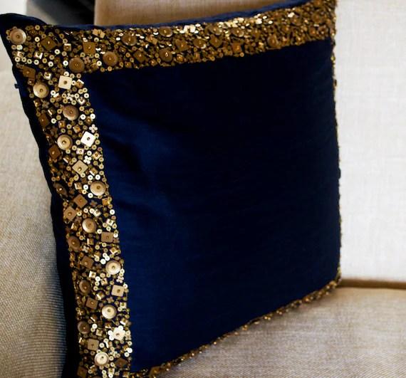 navy blue throw pillow gold sequin pillow mothers day sequin bead pillow navy blue silk pillow cover housewarming gift gift for mom