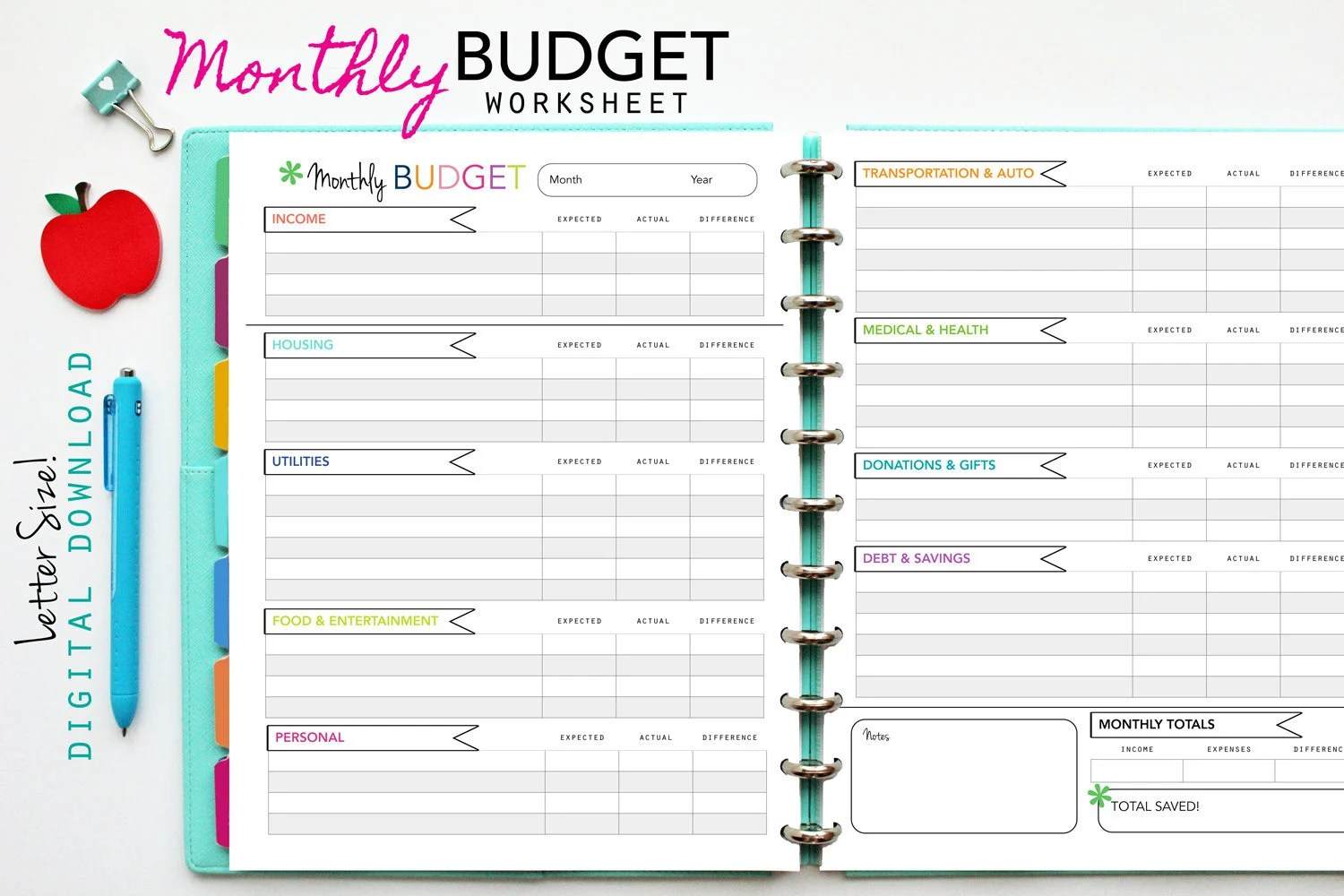 Monthly Budget Worksheet Printable Planner Inserts