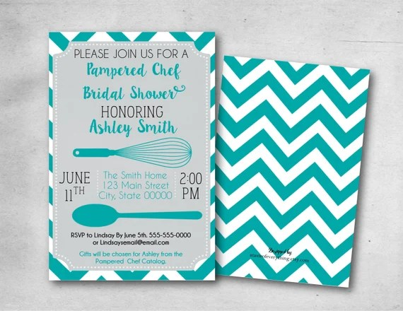 Pampered chef invitation onvacationsite bridal shower invitation pampered chef teal turquoise filmwisefo
