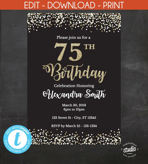 75th birthday invitation 75th birthday invite black and gold glitter instant template 2 size options 5 x 7 4 x 6 edit yourself