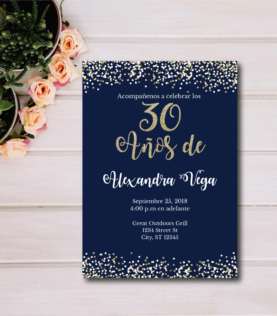 de spanish 30th birthday invitation