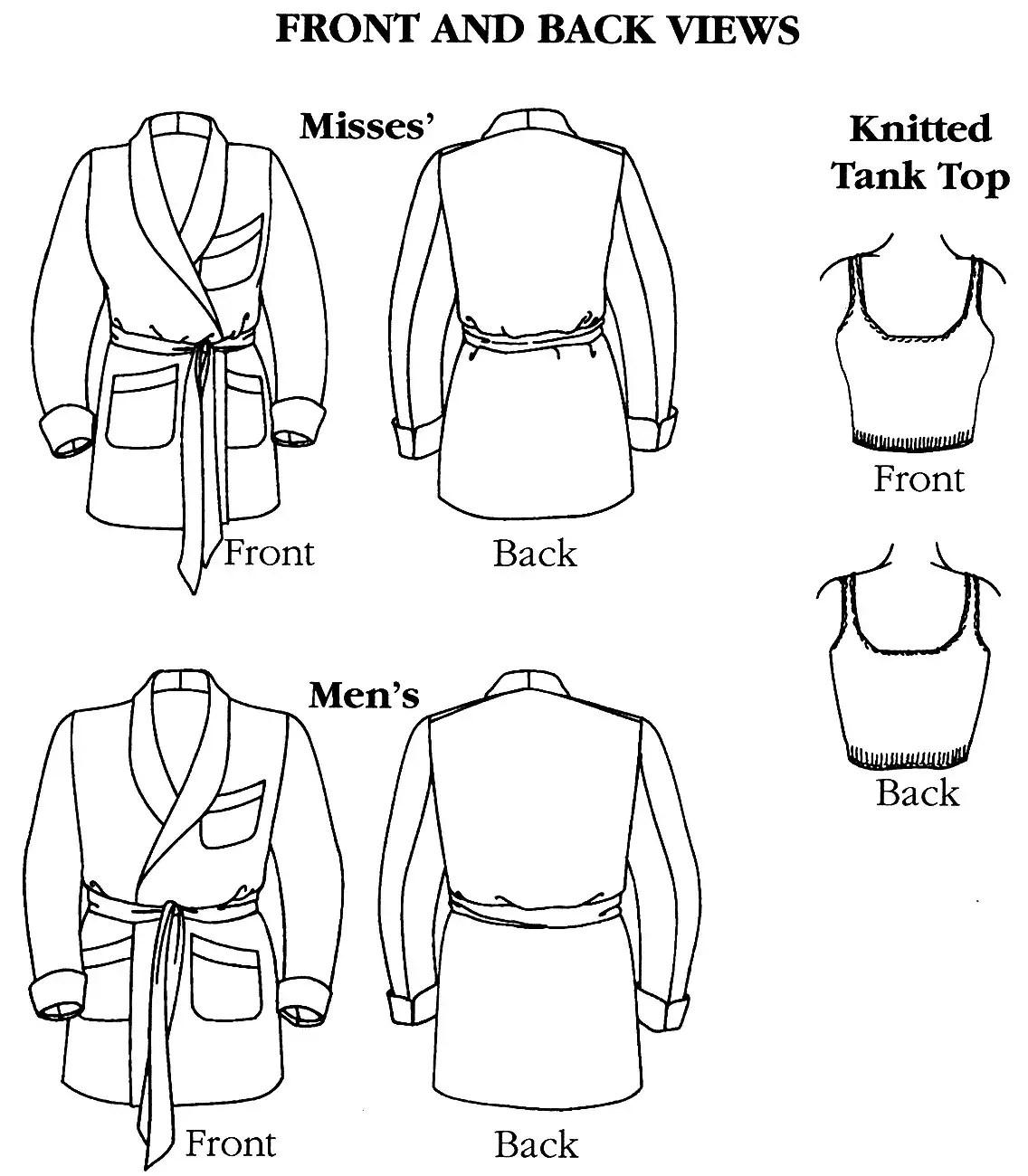Folkwear Le Smoking Jacket Sewing Pattern Knitted Tank Top