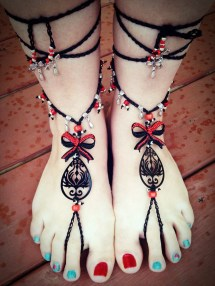 Rhinestones Bows And Peacock Feather Barefoot Sandal