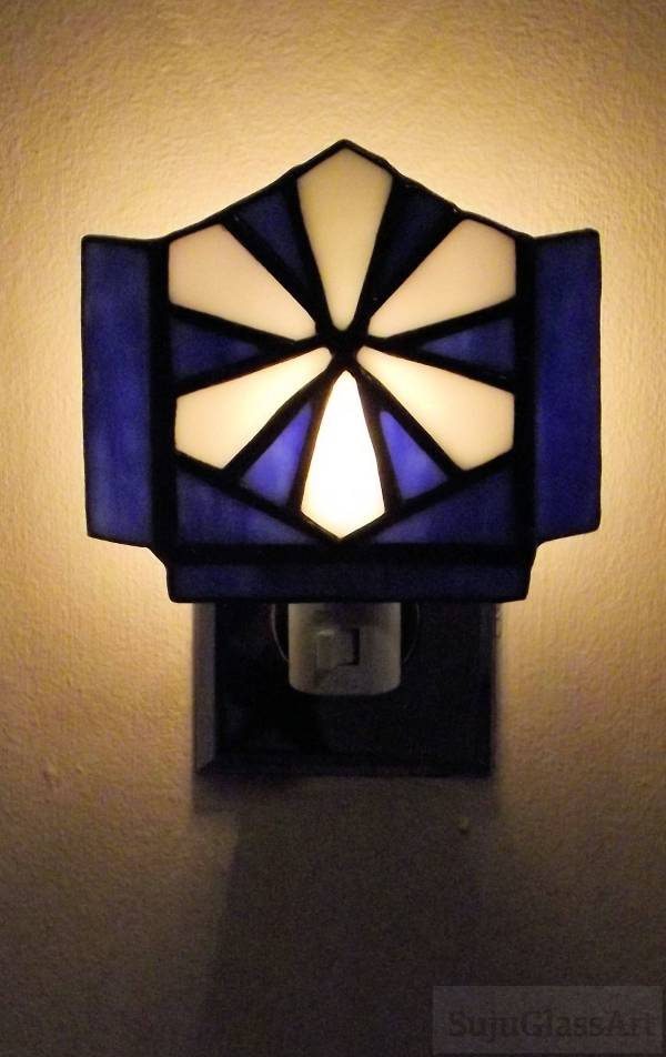 Snows Of Winter Stained Glass Night Light Blue And White