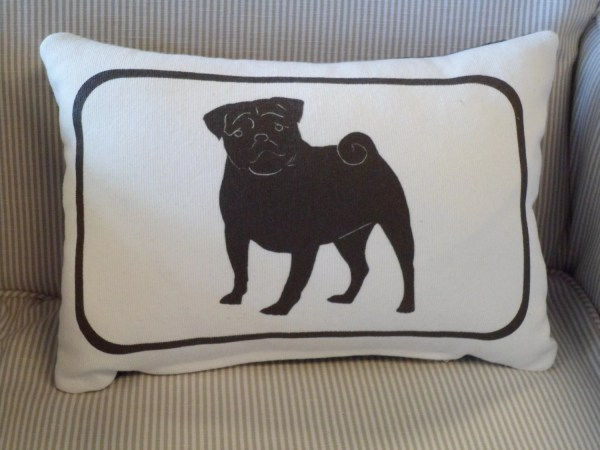 Pug 12x16 Silhouette Pillow With Insert