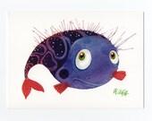 "Postcard ""Fish"", violet"