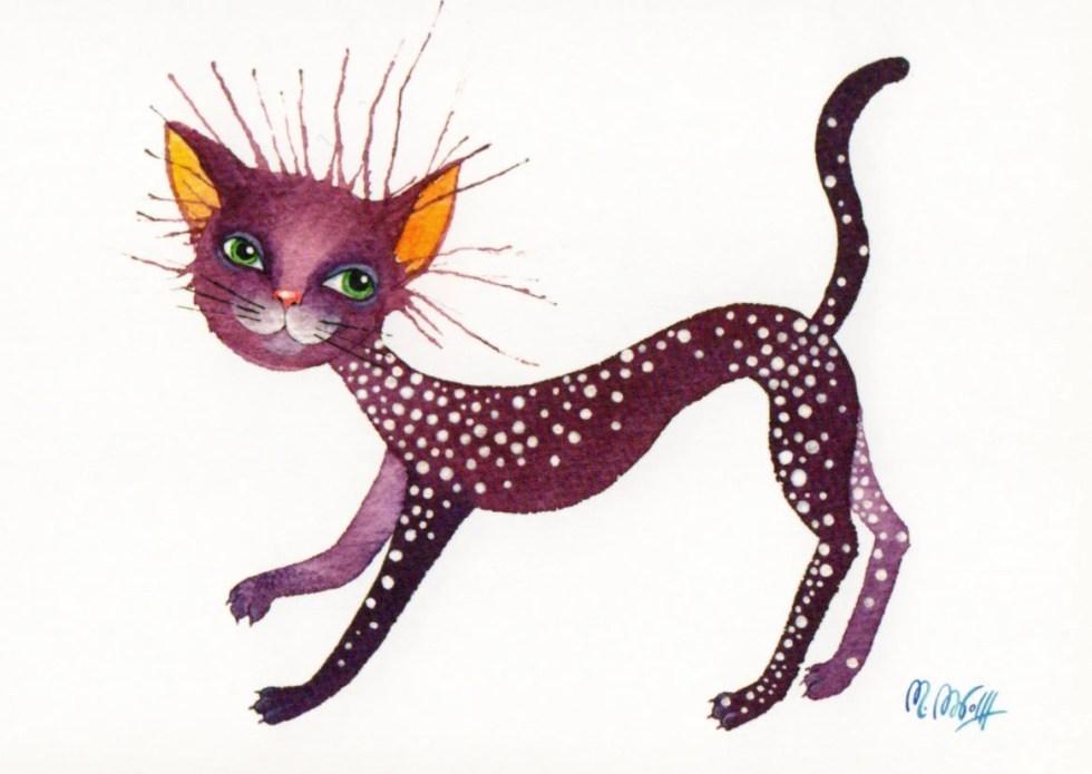 "Postcard ""Purple cat..."