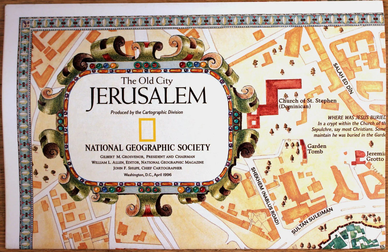 Jerusalem The Old City Map National Geographic Cartography