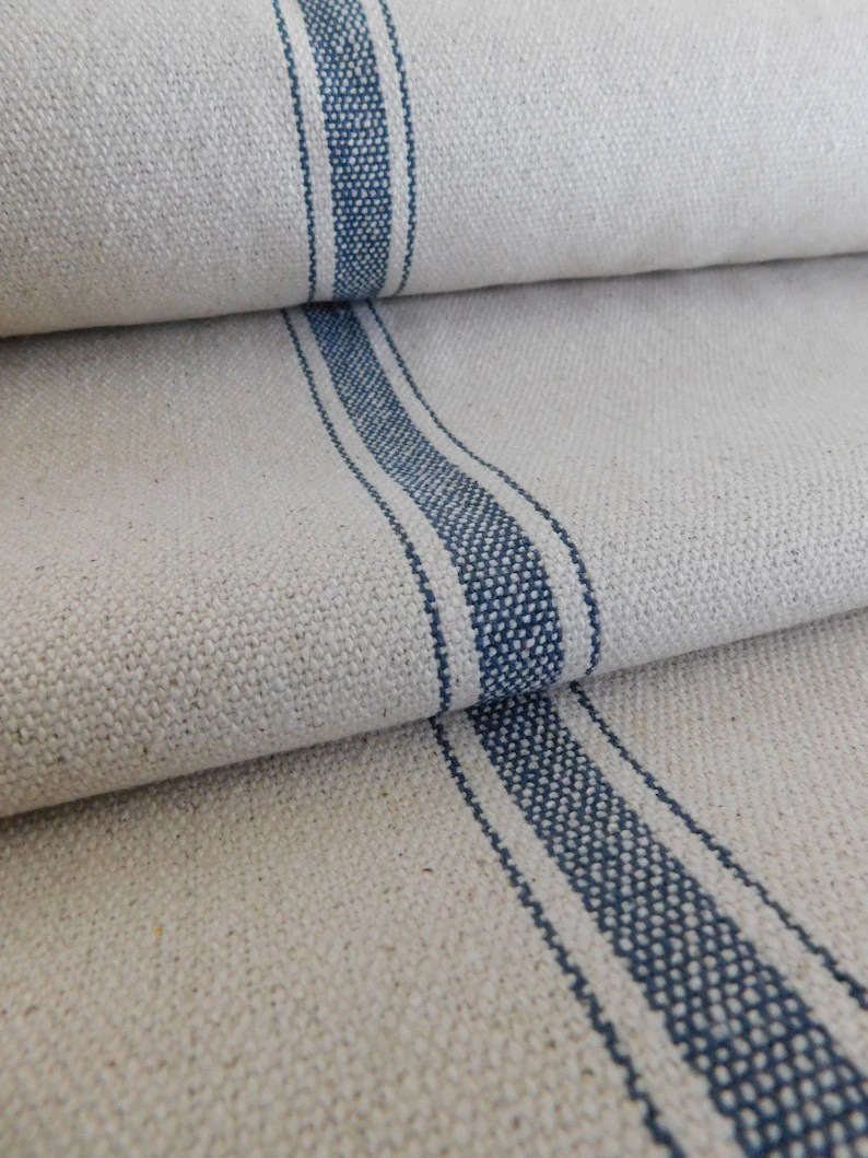 Grain Sack Chair Grain Sack Fabric By The Yard Farmhouse Fabric Ticking Fabric Blue 3 Stripe Beige Background 54