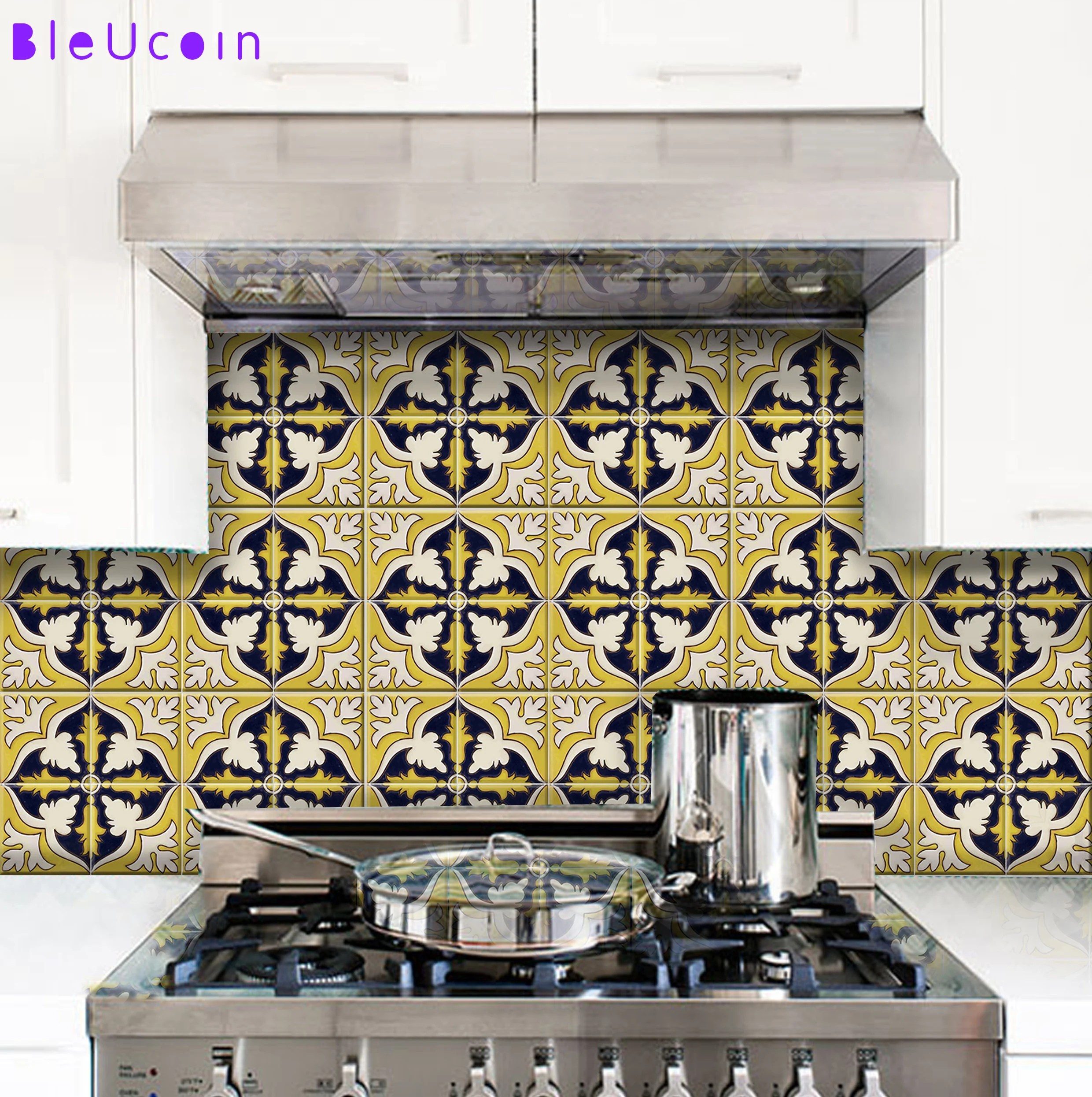 ochre mexican tile wall decal for kitchen bathroom etsy