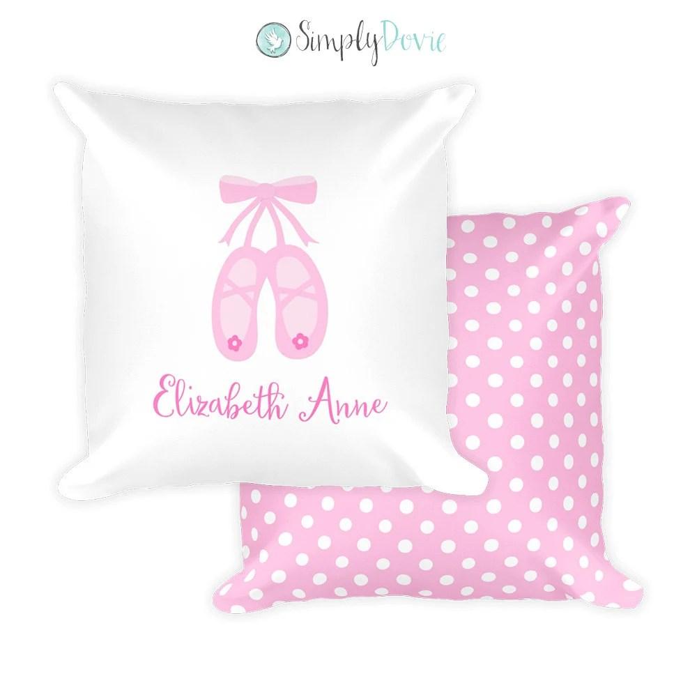 Personalized Ballerina Pillow Ballet Pillow Kids Pillows Ballerina Bedding Ballet Slippers