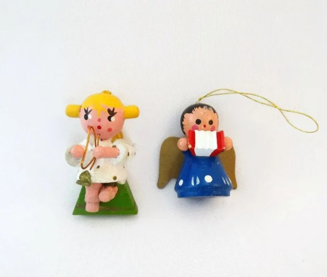 Vintage  Hand Painted Wooden Angel Christmas Ornaments Vintage Wooden Christmas Ornaments