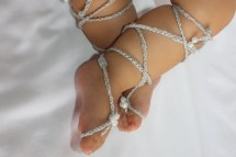 Silver Gladiator Sandals Barefoot Crochet Baby