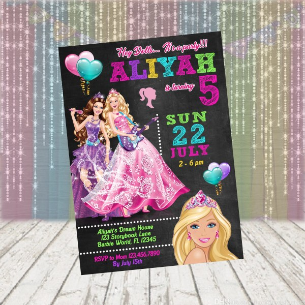 Barbie Chalkboard Birthday Invitation